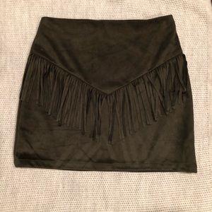 Green faux suede fringe mini skirt